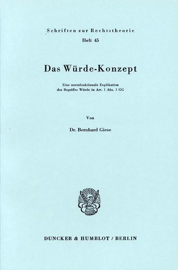 Das Würde-Konzept. - Blick ins Buch