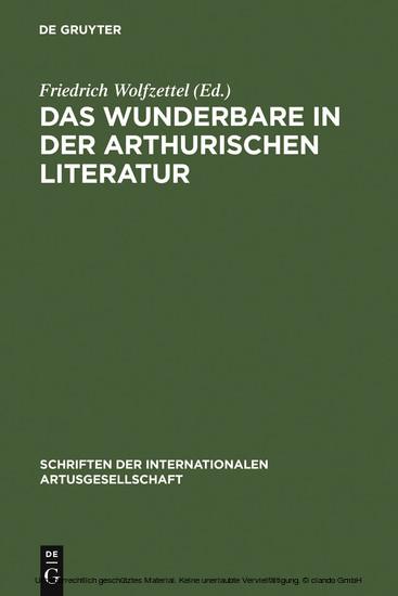 Das Wunderbare in der arthurischen Literatur - Blick ins Buch