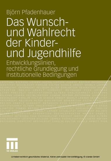 Das Wunsch- und Wahlrecht der Kinder- und Jugendhilfe - Blick ins Buch