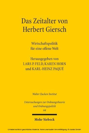 Das Zeitalter von Herbert Giersch - Blick ins Buch