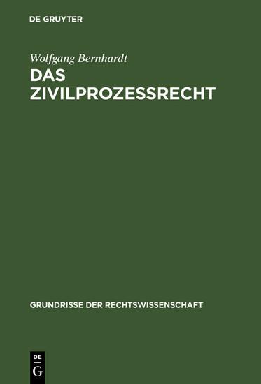 Das Zivilprozeßrecht - Blick ins Buch