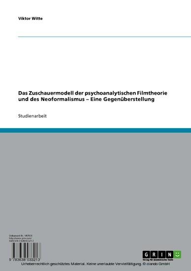 Das Zuschauermodell der psychoanalytischen Filmtheorie und des Neoformalismus - Blick ins Buch