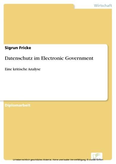 Datenschutz im Electronic Government - Blick ins Buch