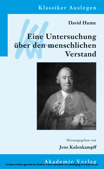 David Hume: Eine Untersuchung über den menschlichen Verstand - Blick ins Buch
