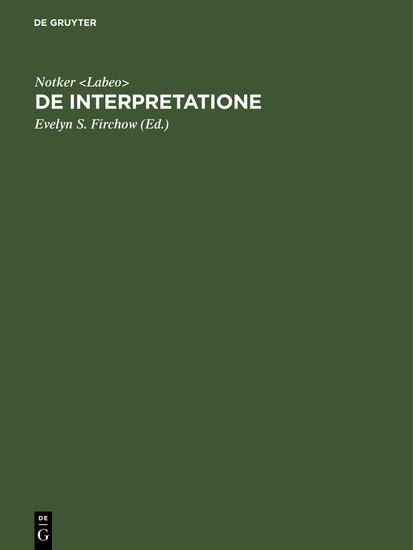 De interpretatione - Blick ins Buch