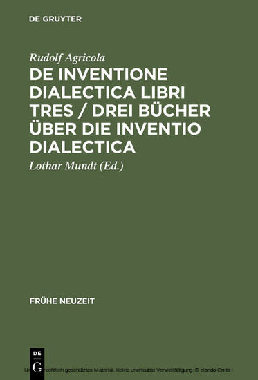 De inventione dialectica libri tres / Drei Bücher über die Inventio dialectica - Blick ins Buch
