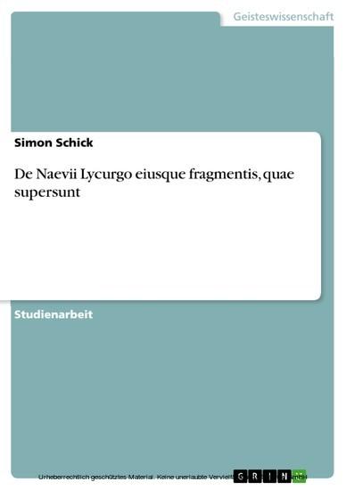 De Naevii Lycurgo eiusque fragmentis, quae supersunt - Blick ins Buch