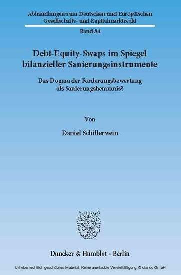 Debt-Equity-Swaps im Spiegel bilanzieller Sanierungsinstrumente. - Blick ins Buch