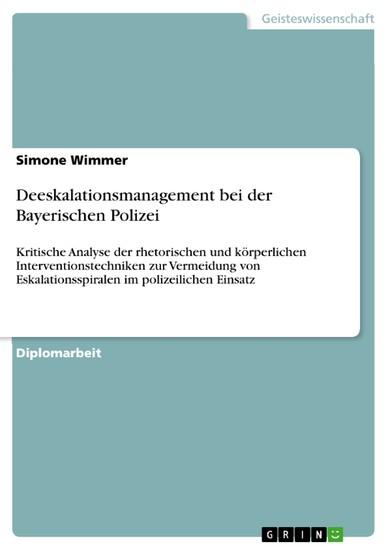 Deeskalationsmanagement bei der Bayerischen Polizei - Blick ins Buch