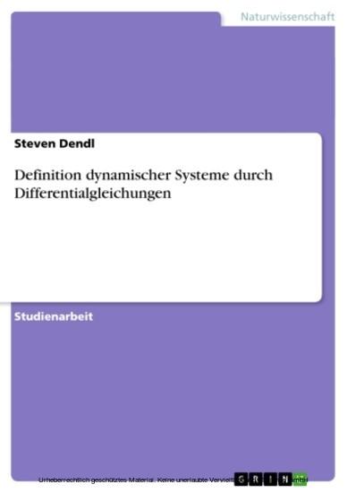 Definition dynamischer Systeme durch Differentialgleichungen - Blick ins Buch