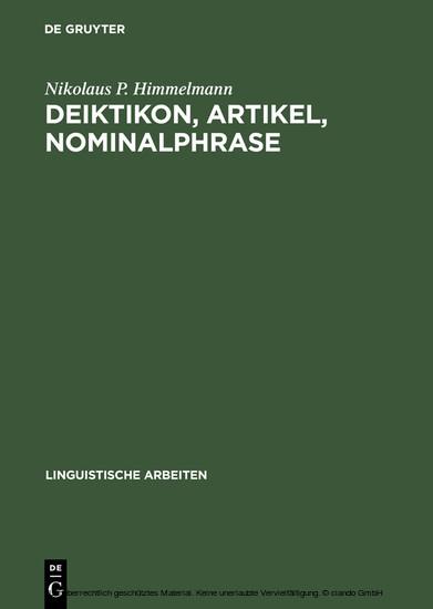 Deiktikon, Artikel, Nominalphrase - Blick ins Buch