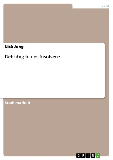 Delisting in der Insolvenz - Blick ins Buch