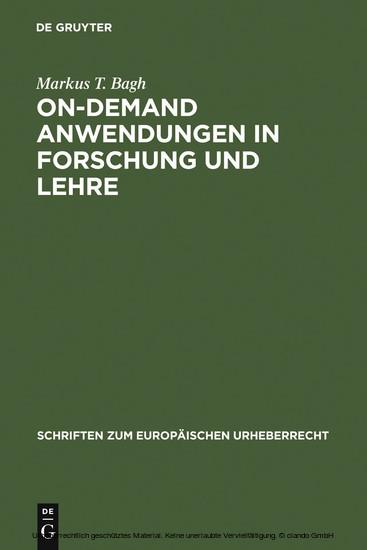 On-demand Anwendungen in Forschung und Lehre - Blick ins Buch