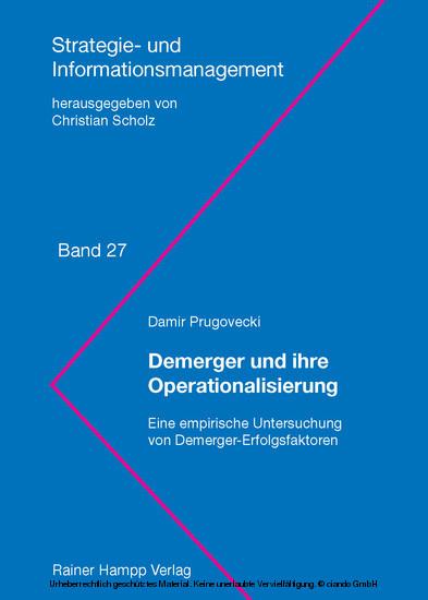 Demerger und ihre Operationalisierung - Blick ins Buch