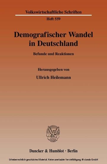 Demografischer Wandel in Deutschland. - Blick ins Buch