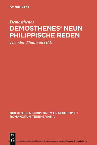 Demosthenes' Neun philippische Reden - Blick ins Buch