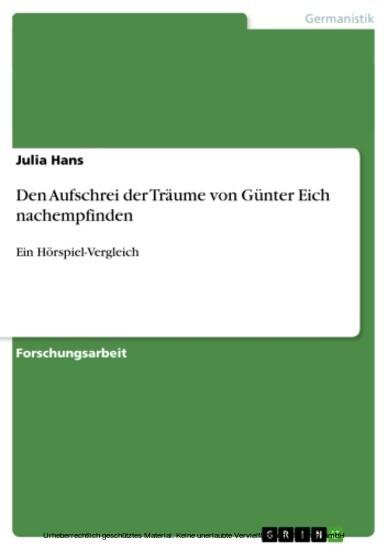 Den Aufschrei der Träume von Günter Eich nachempfinden - Blick ins Buch
