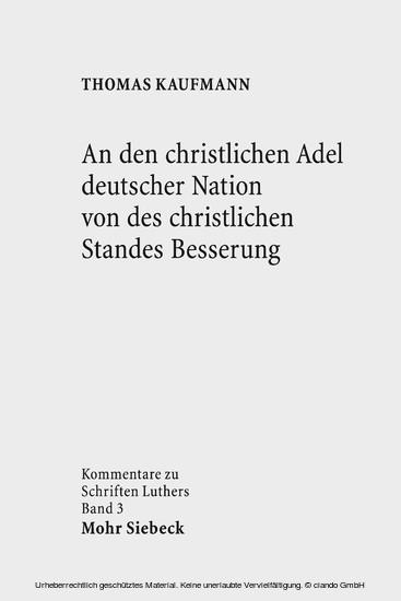 An den christlichen Adel deutscher Nation von des christlichen Standes Besserung - Blick ins Buch