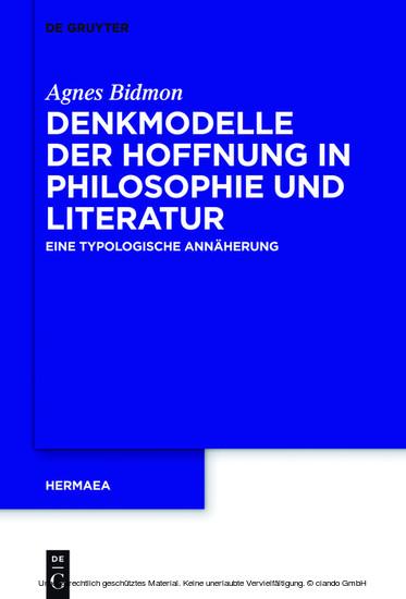 Denkmodelle der Hoffnung in Philosophie und Literatur - Blick ins Buch