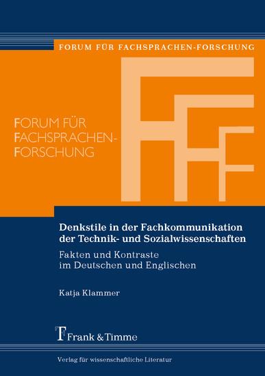 Denkstile in der Fachkommunikation der Technik- und Sozialwissenschaften - Blick ins Buch