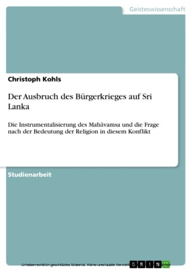 Der Ausbruch des Bürgerkrieges auf Sri Lanka - Blick ins Buch