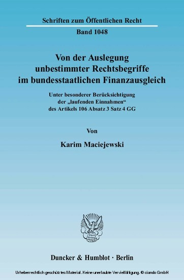 Von der Auslegung unbestimmter Rechtsbegriffe im bundesstaatlichen Finanzausgleich. - Blick ins Buch