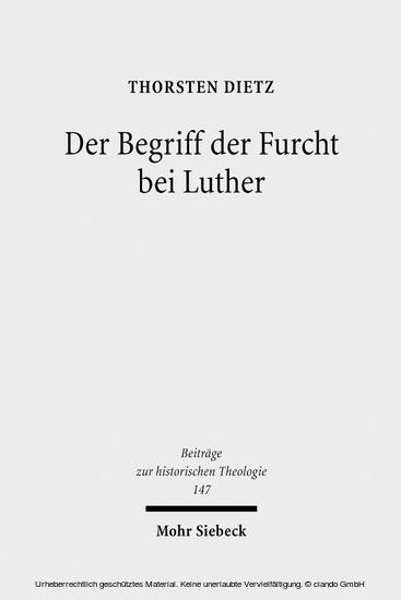 Der Begriff der Furcht bei Luther - Blick ins Buch