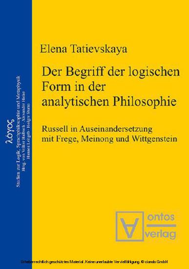 Der Begriff der logischen Form in der Analytischen Philosophie - Blick ins Buch