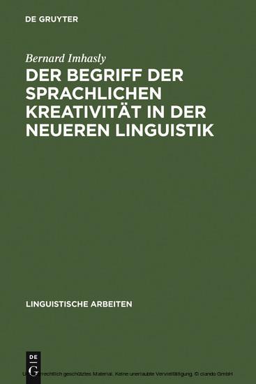 Der Begriff der sprachlichen Kreativität in der neueren Linguistik - Blick ins Buch