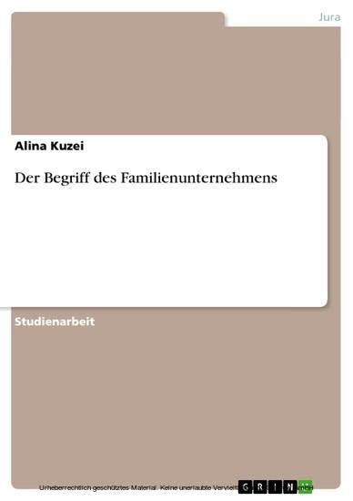 Der Begriff des Familienunternehmens - Blick ins Buch