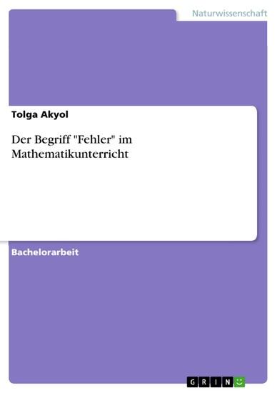 Der Begriff 'Fehler' im Mathematikunterricht - Blick ins Buch