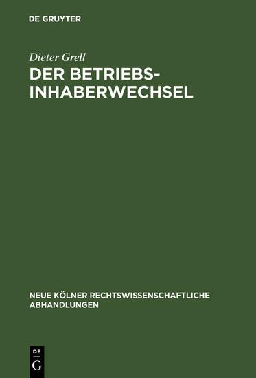 Der Betriebsinhaberwechsel - Blick ins Buch