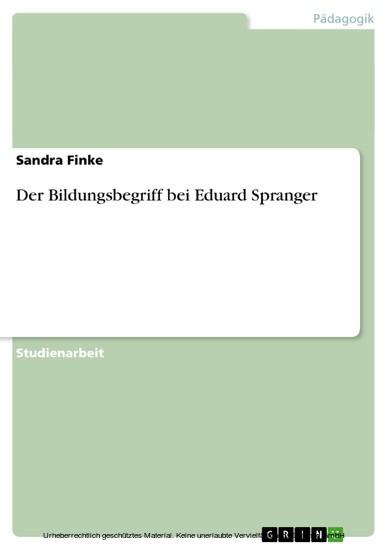 Der Bildungsbegriff bei Eduard Spranger - Blick ins Buch