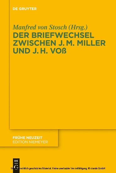 Der Briefwechsel zwischen Johann Martin Miller und Johann Heinrich Voß - Blick ins Buch