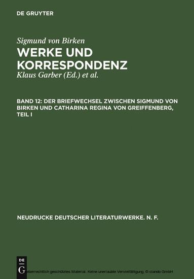 Der Briefwechsel zwischen Sigmund von Birken und Catharina Regina von Greiffenberg - Blick ins Buch