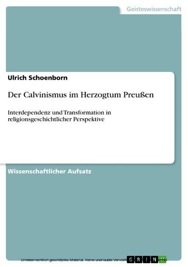 Der Calvinismus im Herzogtum Preußen - Blick ins Buch