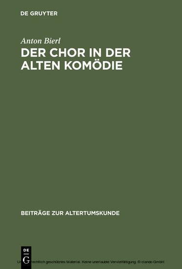 Der Chor in der Alten Komödie - Blick ins Buch