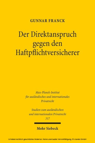 Der Direktanspruch gegen den Haftpflichtversicherer - Blick ins Buch