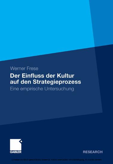 Der Einfluss der Kultur auf den Strategieprozess - Blick ins Buch
