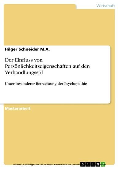 Der Einfluss von Persönlichkeitseigenschaften auf den Verhandlungsstil - Blick ins Buch
