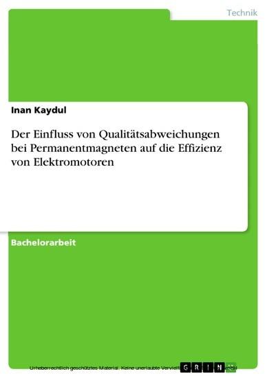 Der Einfluss von Qualitätsabweichungen bei Permanentmagneten auf die Effizienz von Elektromotoren - Blick ins Buch
