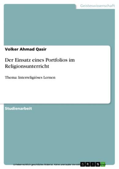 Der Einsatz eines Portfolios im Religionsunterricht - Blick ins Buch