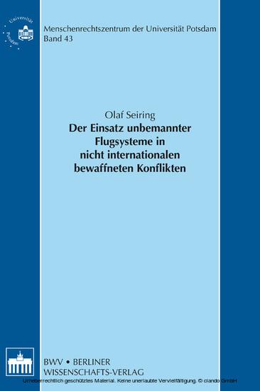 Der Einsatz unbemannter Flugsysteme in nicht internationalen bewaffneten Konflikten - Blick ins Buch