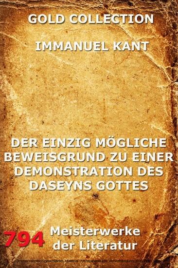 Der einzig mögliche Beweisgrund zu einer Demonstration des Daseyn Gottes - Blick ins Buch