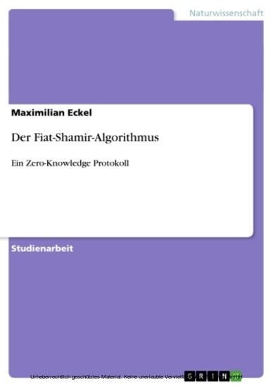 Der Fiat-Shamir-Algorithmus - Blick ins Buch