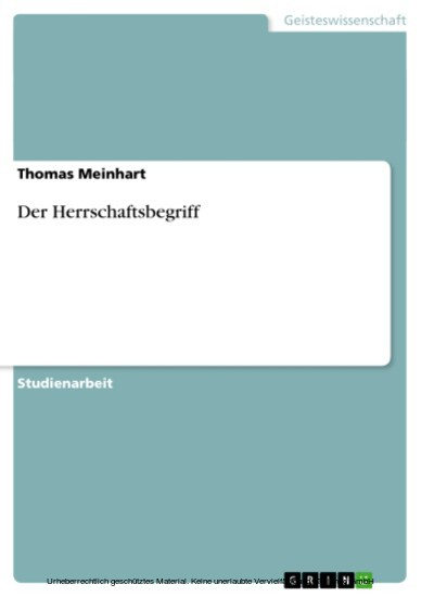 Der Herrschaftsbegriff - Blick ins Buch