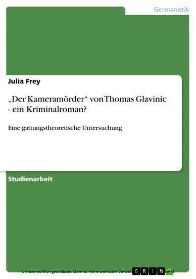'Der Kameramörder' von Thomas Glavinic - ein Kriminalroman? - Blick ins Buch