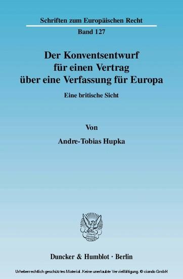 Der Konventsentwurf für einen Vertrag über eine Verfassung für Europa. - Blick ins Buch