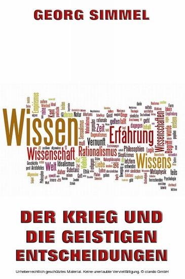 Der Krieg und die geistigen Entscheidungen - Blick ins Buch