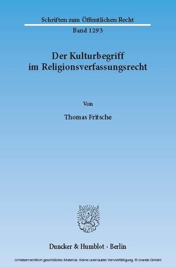 Der Kulturbegriff im Religionsverfassungsrecht. - Blick ins Buch